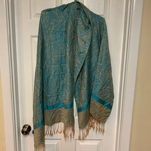 Turquoise and gold fringe shawl wrap scarf